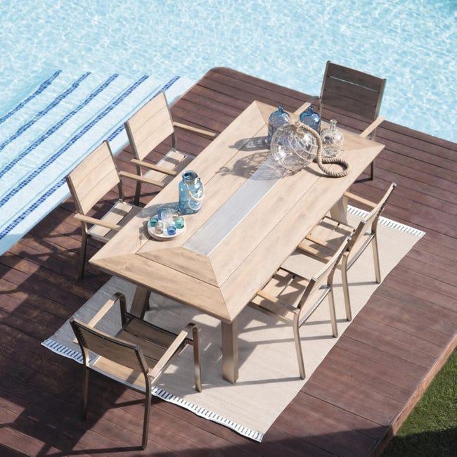 Set tavolo e sedie Kiev in alluminio marrone 6 posti - 1