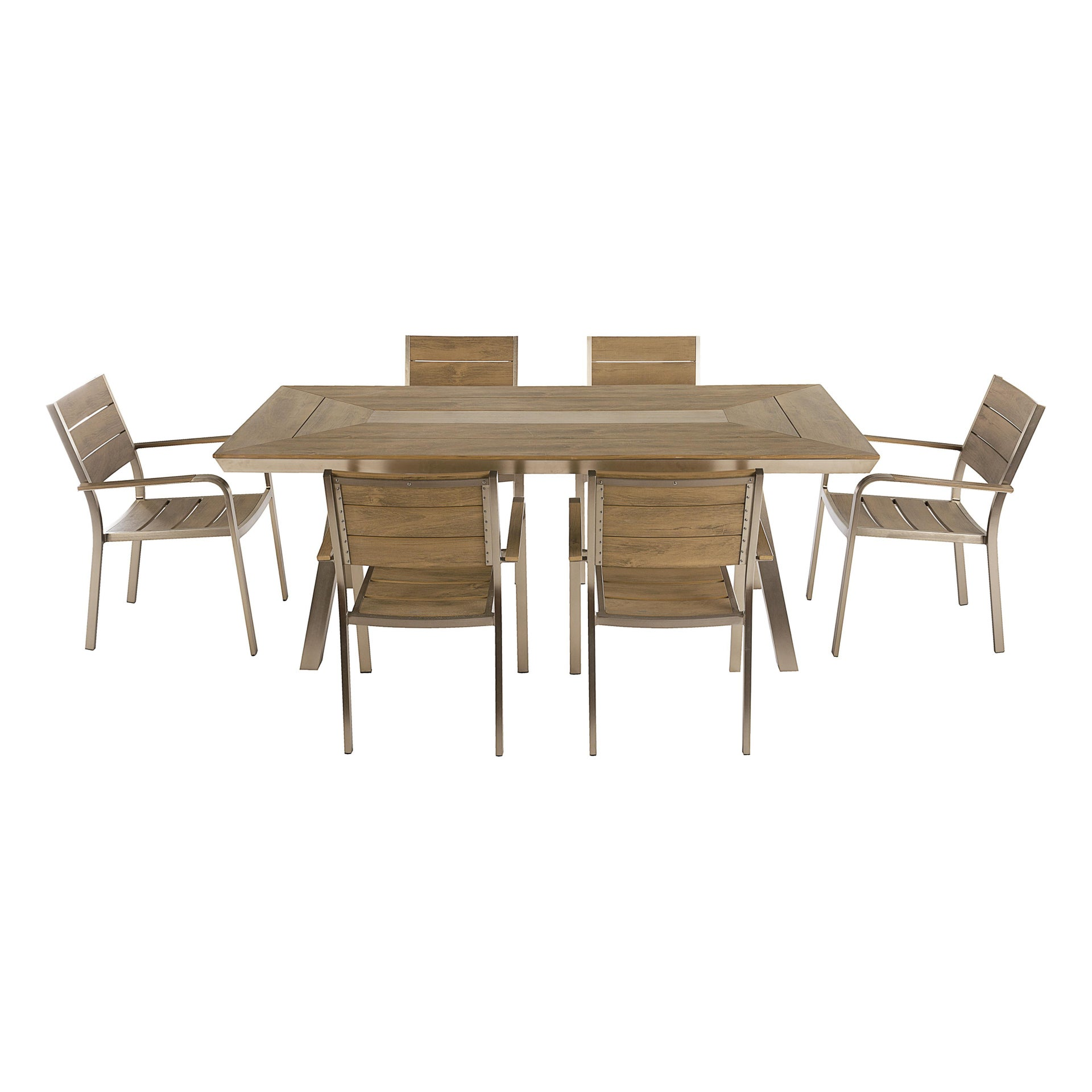 Set tavolo e sedie Kiev in alluminio marrone 6 posti - 3