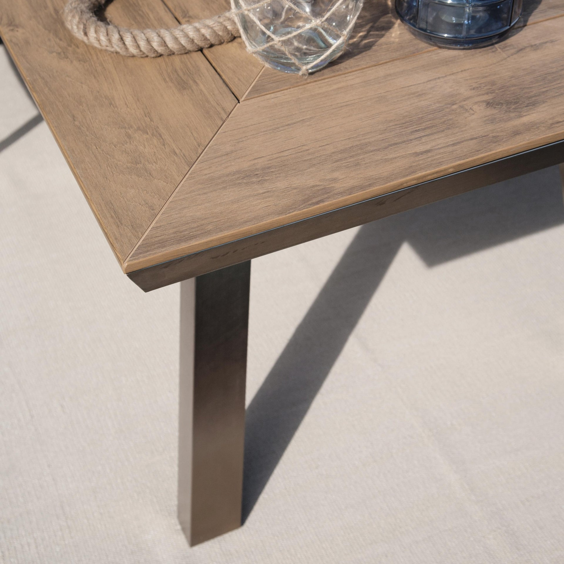 Set tavolo e sedie Kiev in alluminio marrone 6 posti - 2