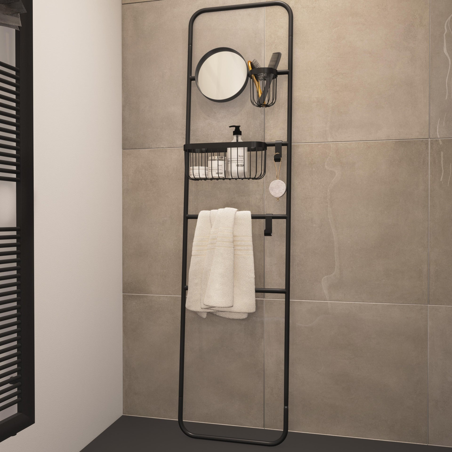 Scala porta asciugamani Credence in acciaio nero - 1
