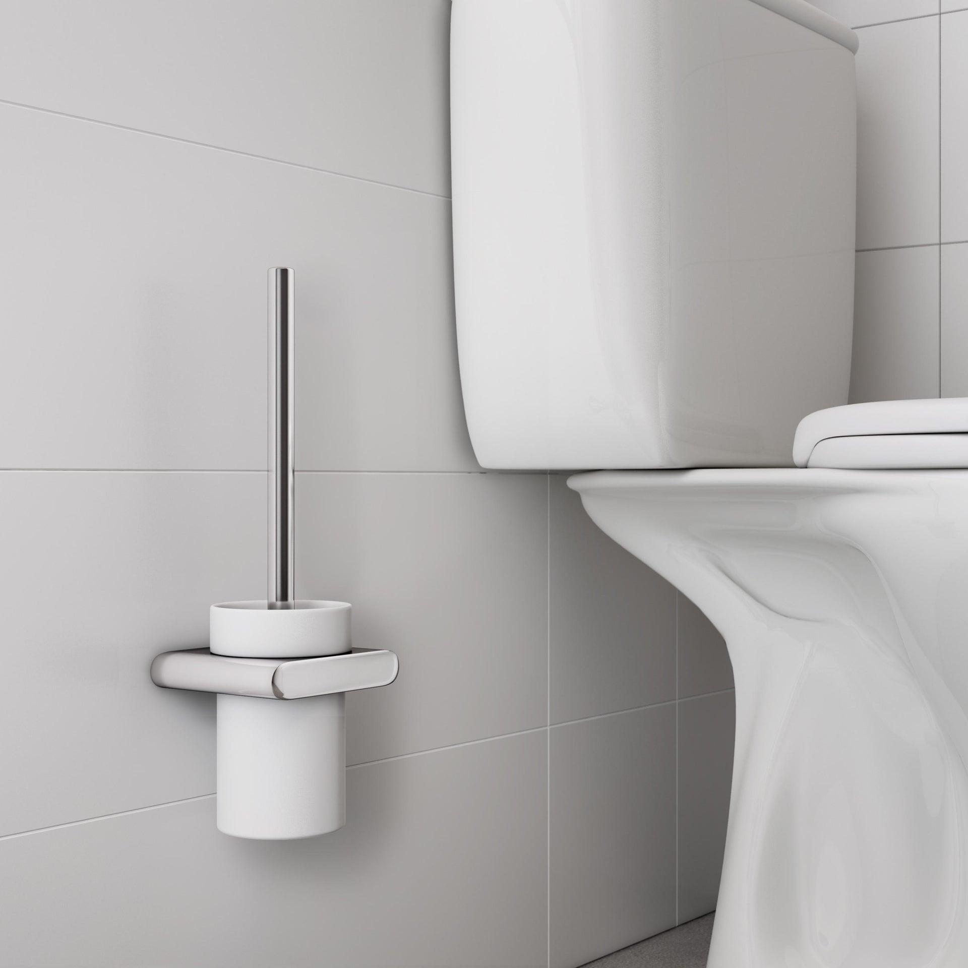 Porta scopino wc a muro Tube in zinco cromo - 3