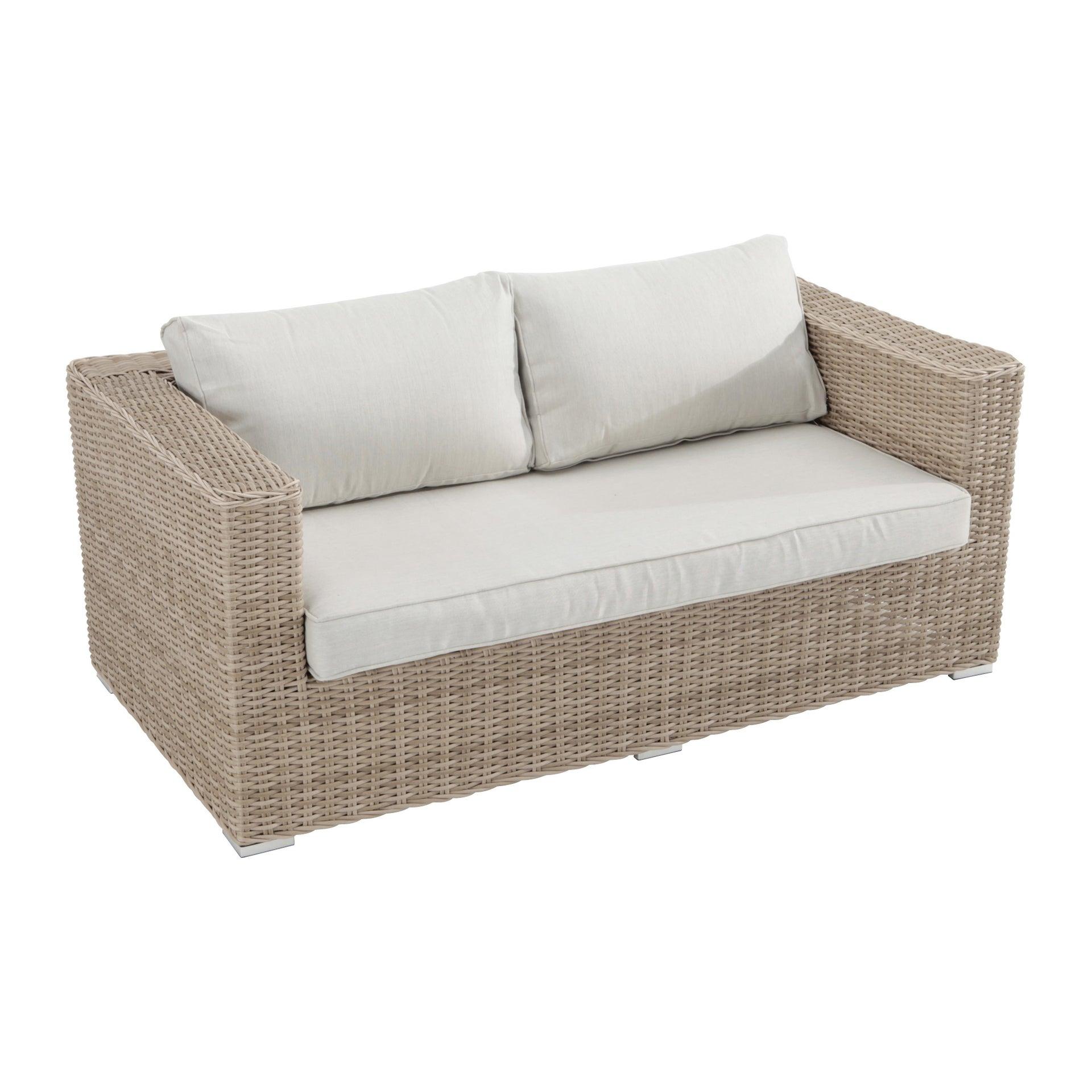 Divano da giardino con cuscino 2 posti in alluminio Costarica NATERIAL colore naturale - 1