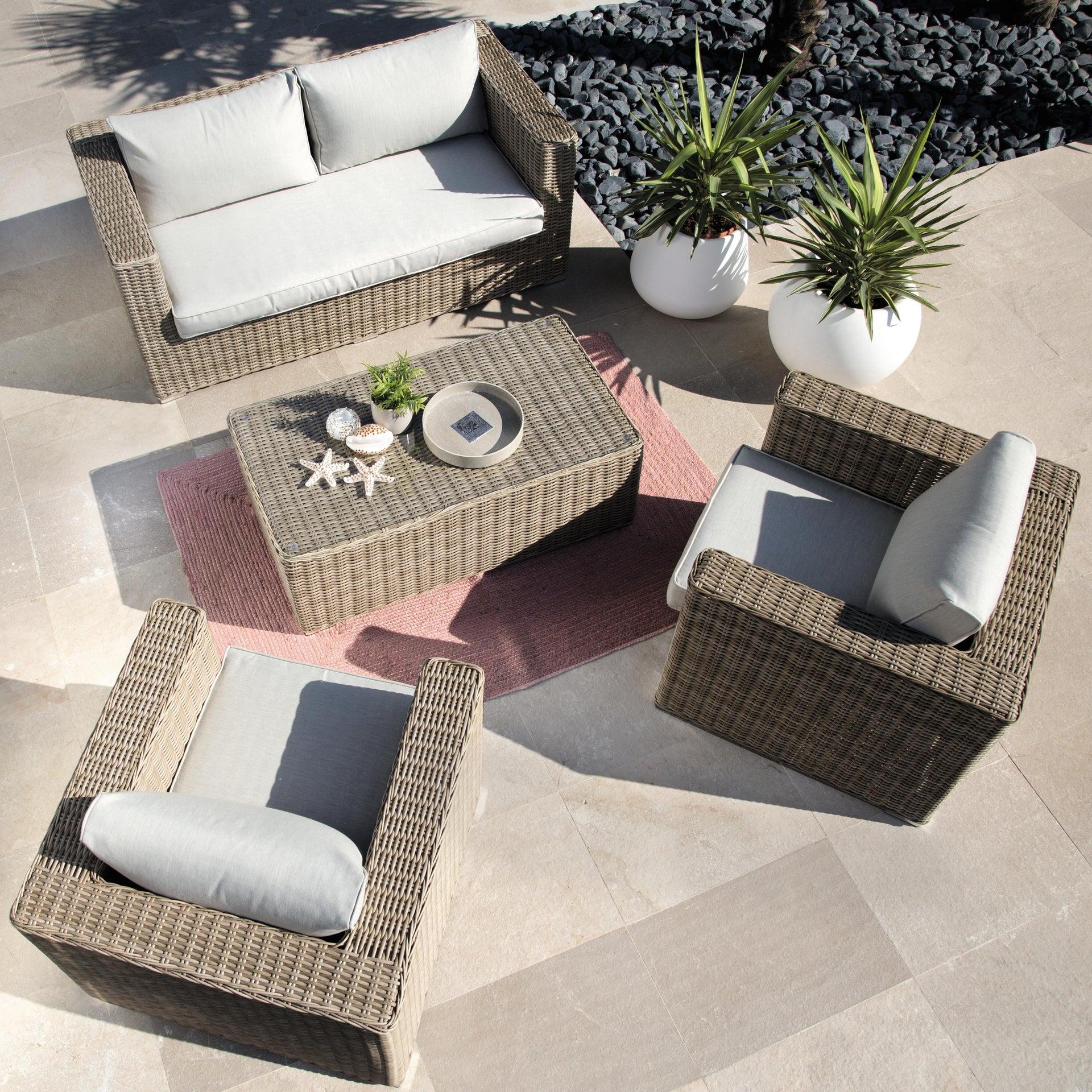 Tavolino da giardino rettangolare Costarica NATERIAL con piano in vetro L 60 x P 112 cm - 6