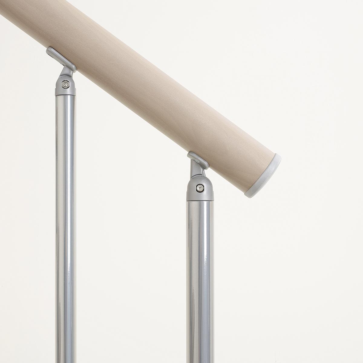 Scala a rampa 1/4 di giro Long FONTANOT L 75 cm, gradino tortora, struttura cromato - 5