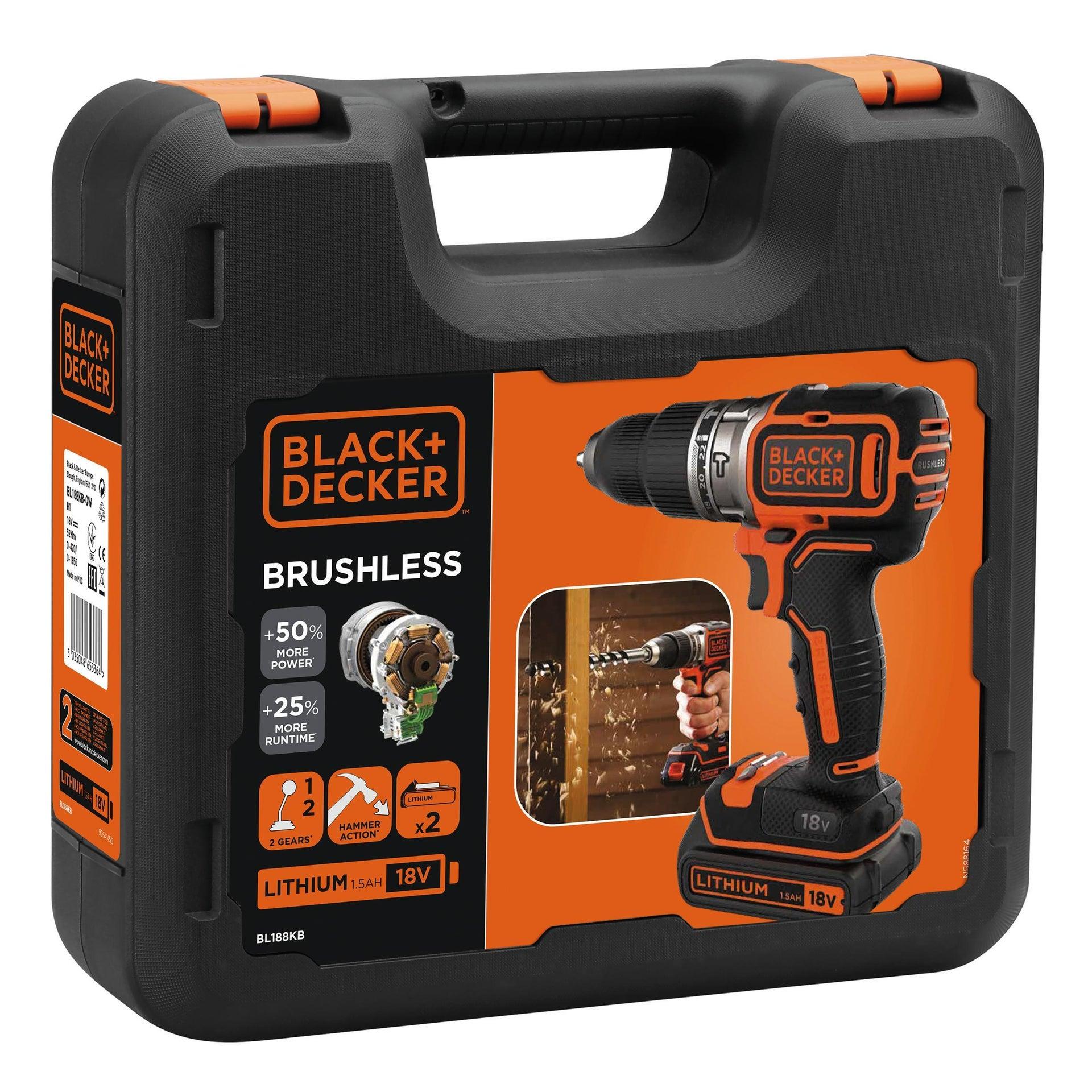 Trapano avvitatore a batteria BLACK + DECKER BL188KB-QW 18 V, 1.5 Ah, 2 batterie - 2