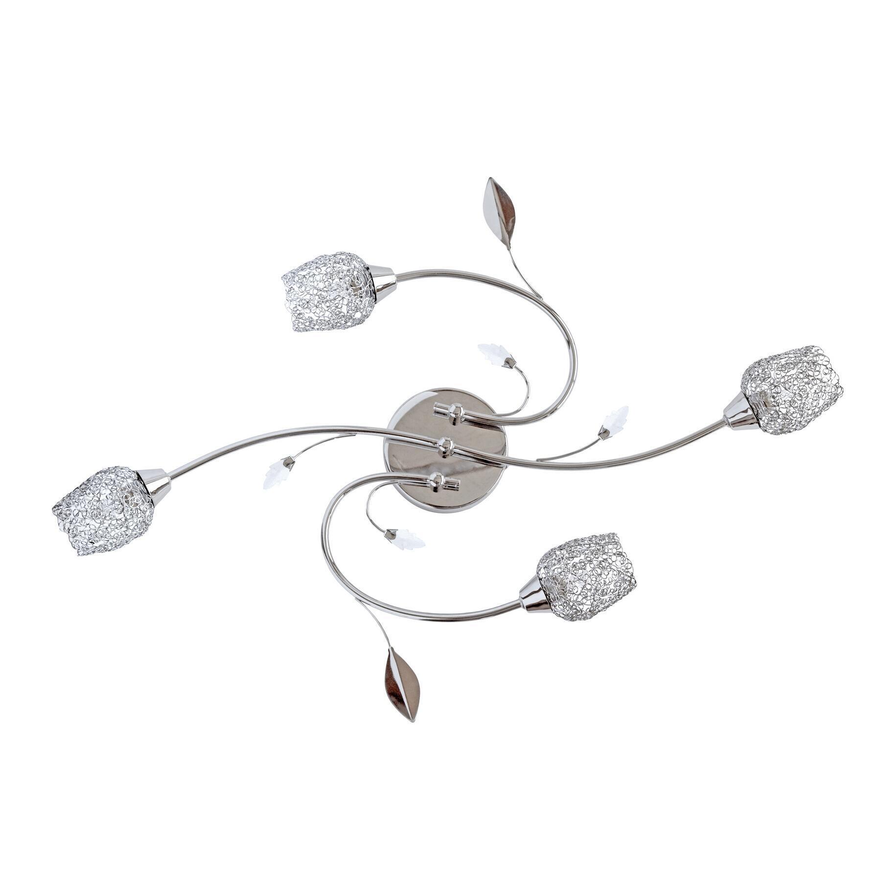 Plafoniera barocco Adriana cromato lucido, in metallo, 59 cm, 4  luci SEYNAVE