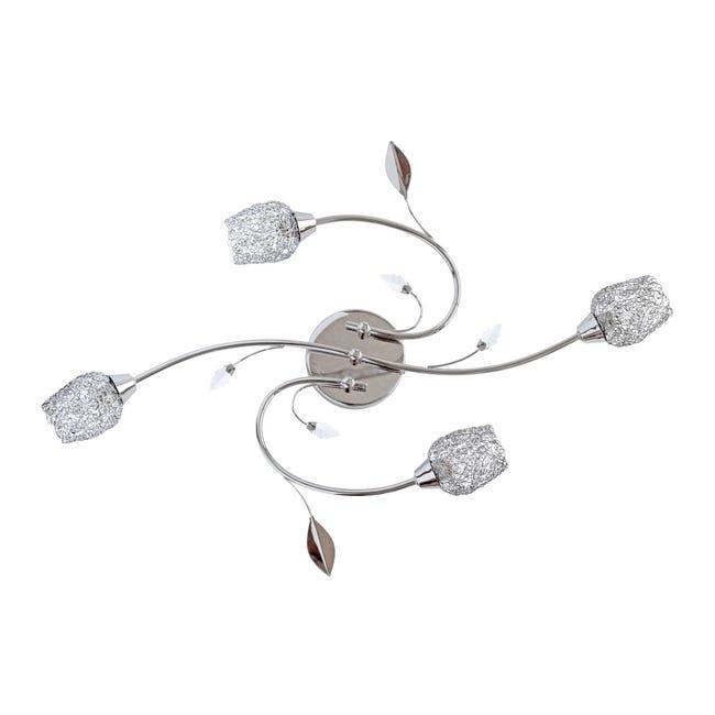 Plafoniera barocco Adriana cromato lucido, in metallo, 59 cm, 4 luci SEYNAVE - 1