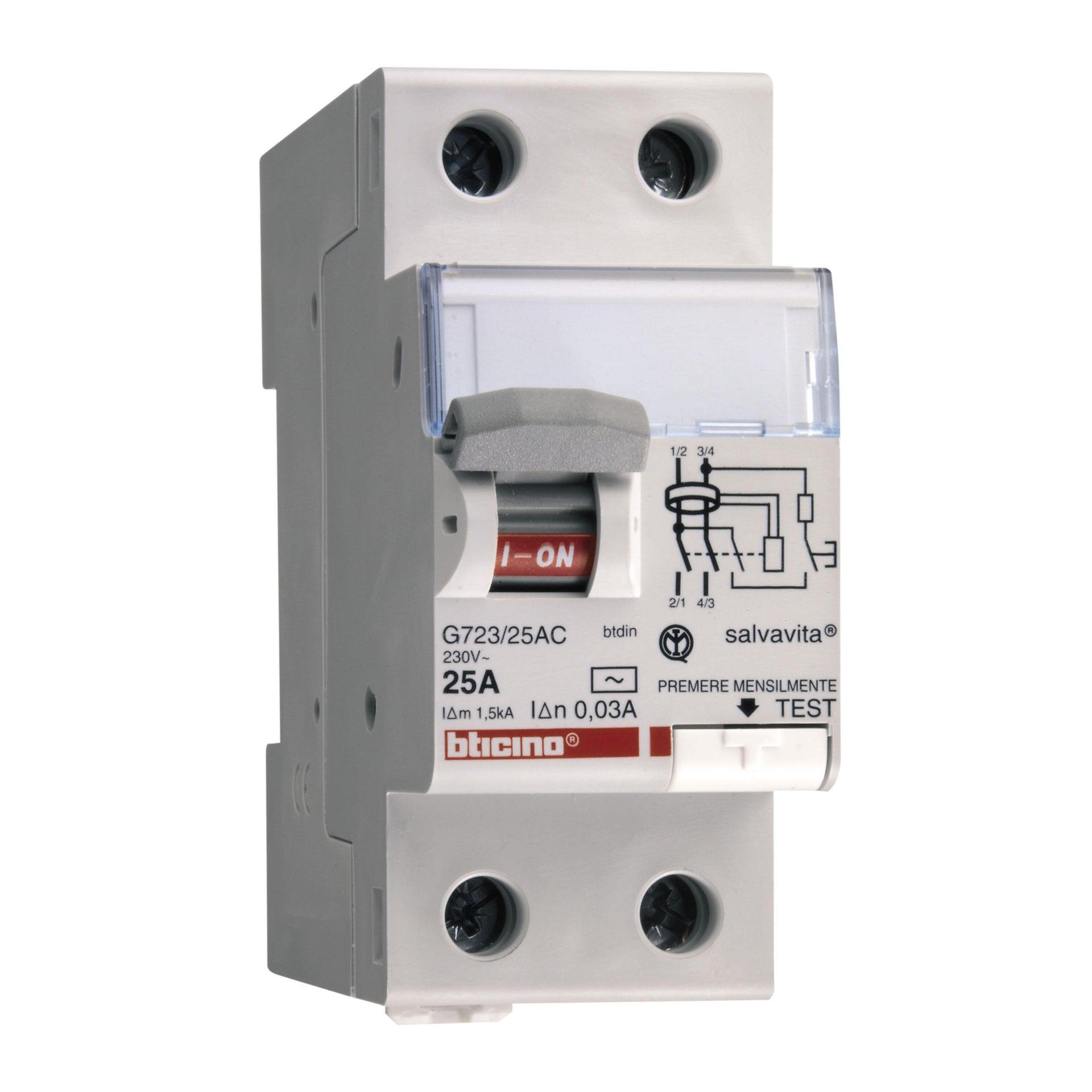 Interruttore differenziale puro BTICINO GC723AC25 2 poli 25A 30mA AC 2 moduli