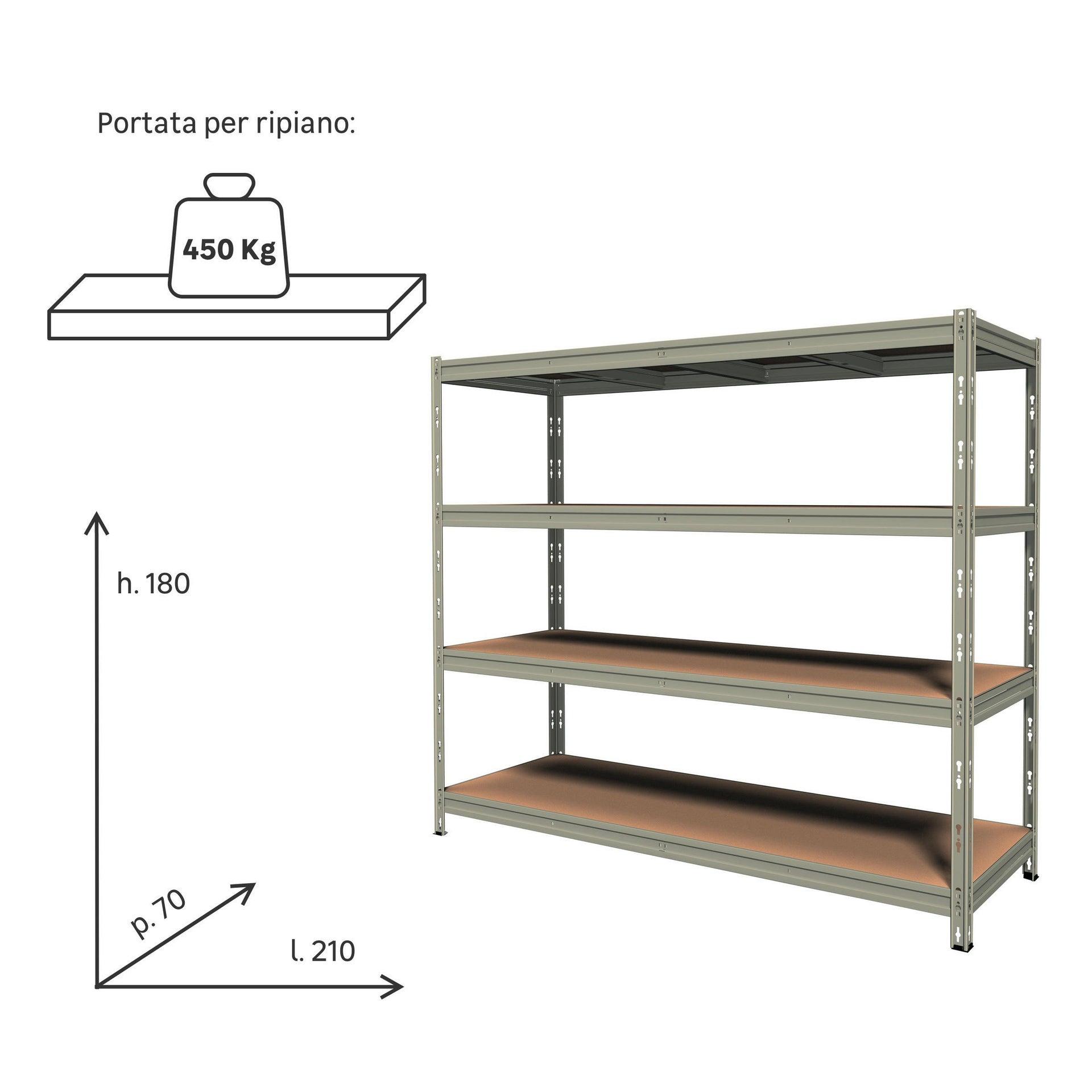 Scaffale in metallo in kit Anemos L 210 x P 70 x H 180 cm grigio - 2