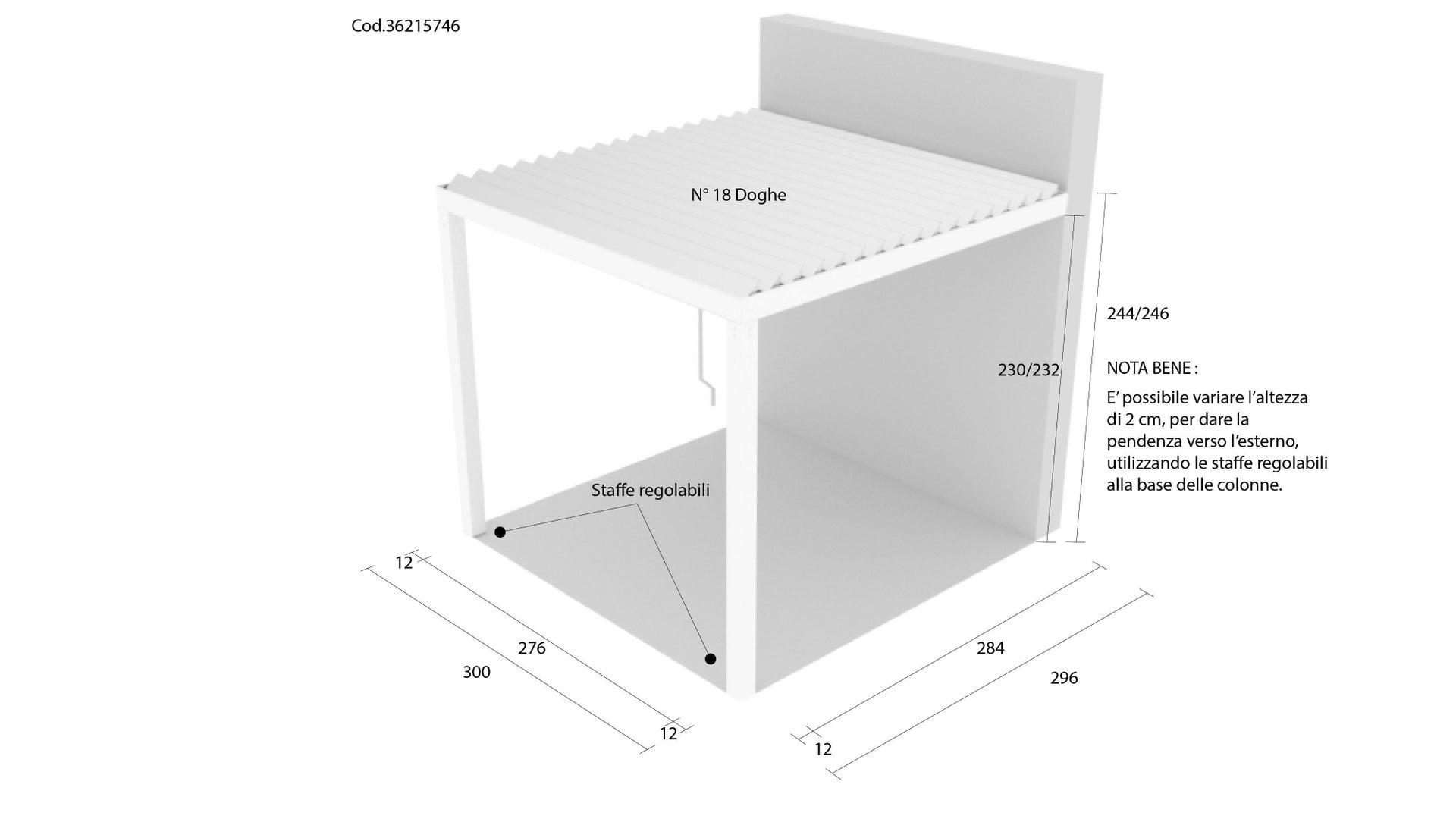 Pergola alluminio Addossata Spell bianco L 300 cm x P 296 cm, H 2.42 m - 3