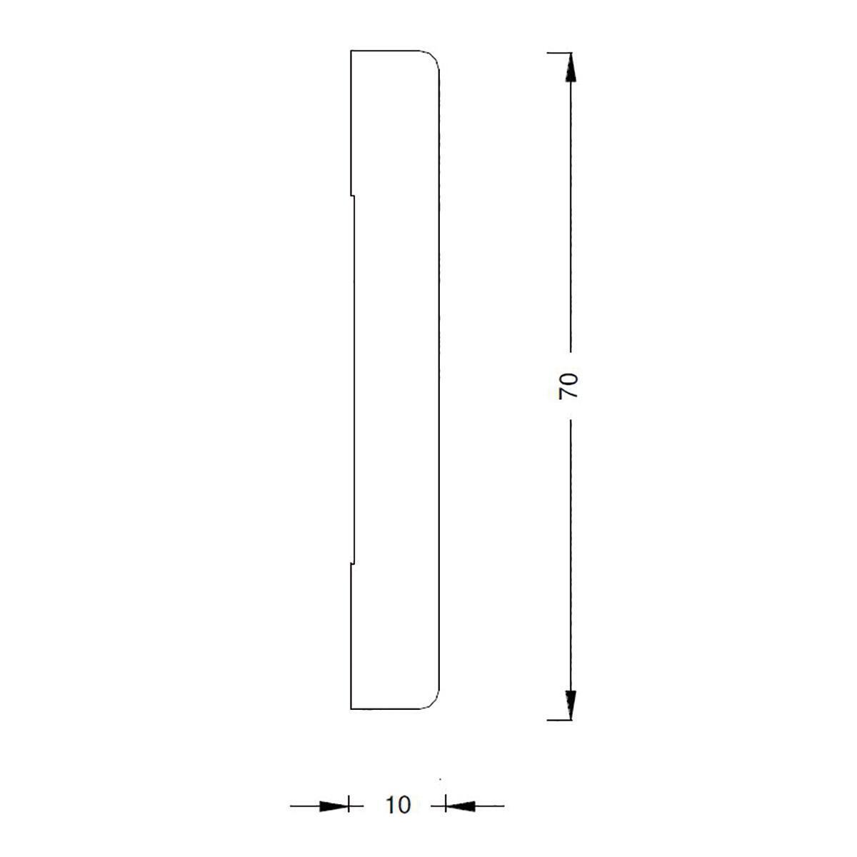 Coprifilo in legno legno massello naturale L 2250 x P 10 x H 70 mm - 4