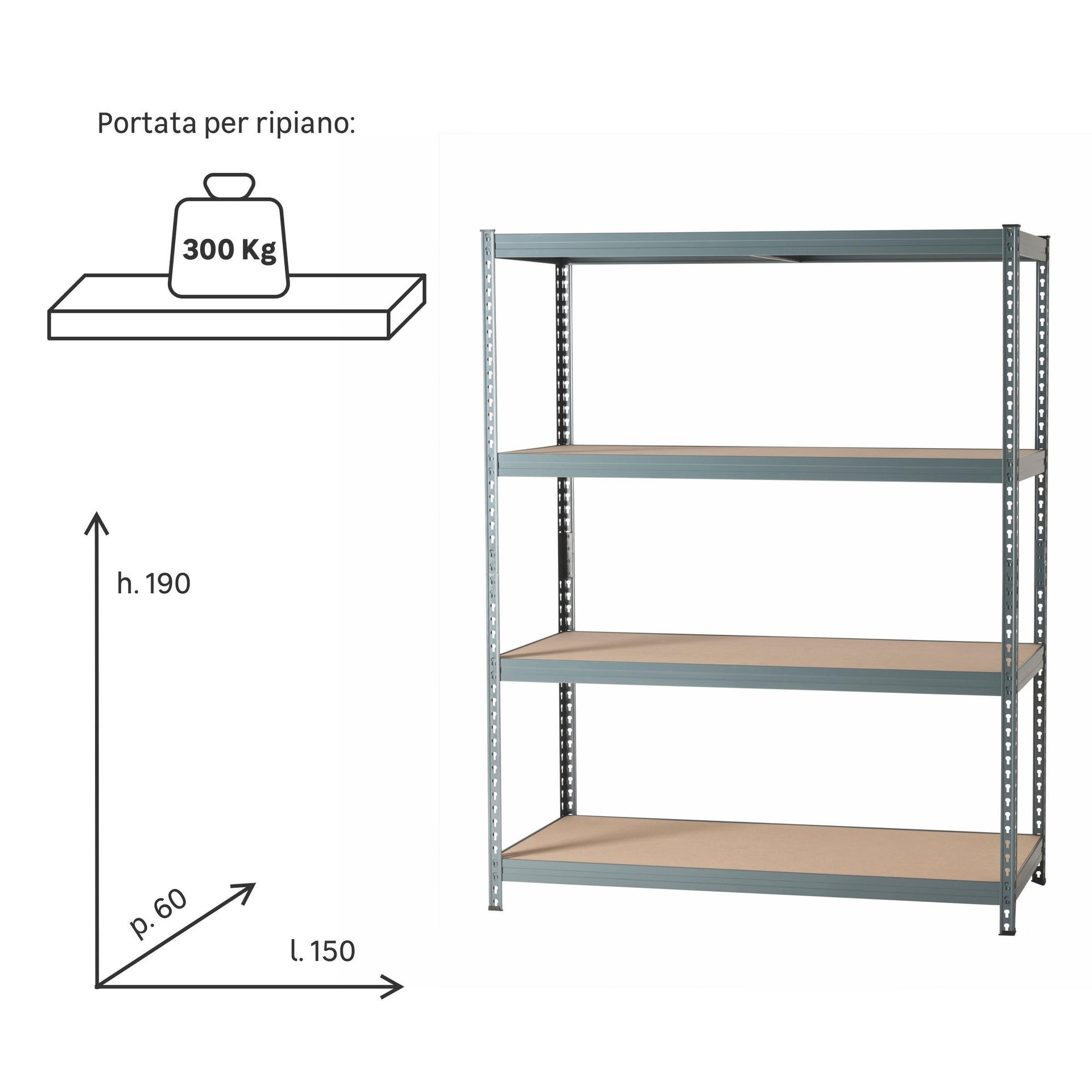 Scaffale in metallo in kit Spaceo L 150 x P 60 x H 190 cm grigio antracite - 8