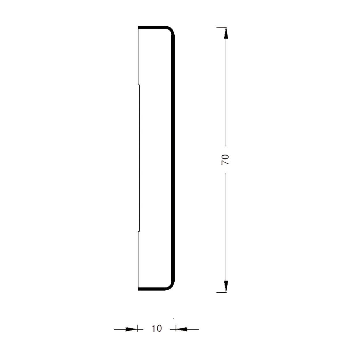 Coprifilo in legno legno massello noce scuro L 2250 x P 10 x H 70 mm - 4