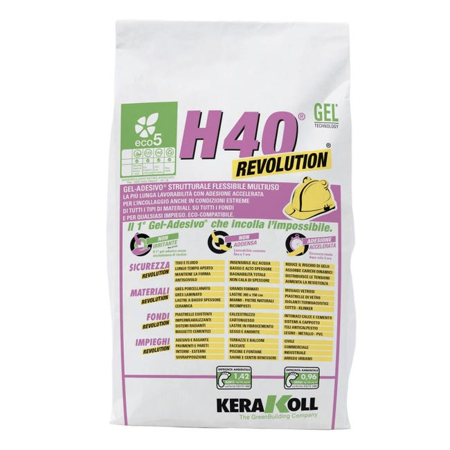 Colla in polvere H40 Revolution KERAKOLL 5 kg bianco - 1