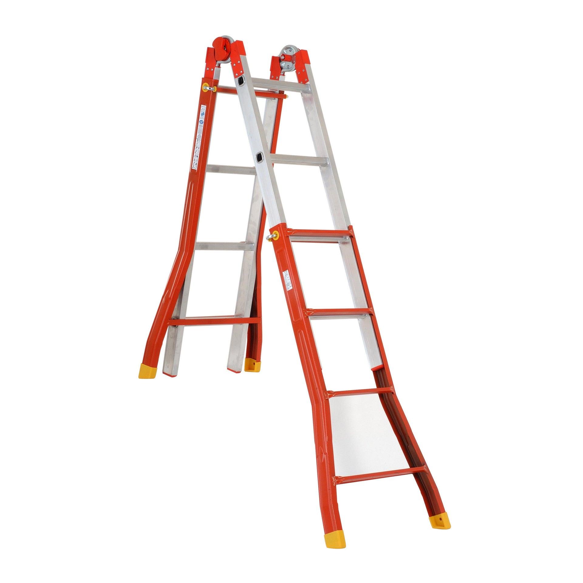 Scala telescopica GIERRE Ercolina in acciaio 4+4 gradini per lavori fino a 4.7 m - 6