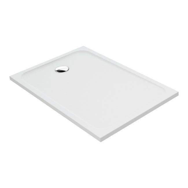 Piatto doccia resina sintetica e polvere di marmo Easy 80 x 120 cm bianco - 1