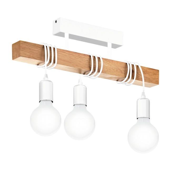 Lampadario Scandinavo Townshend bianco e legno in legno, 3 luci, EGLO - 1