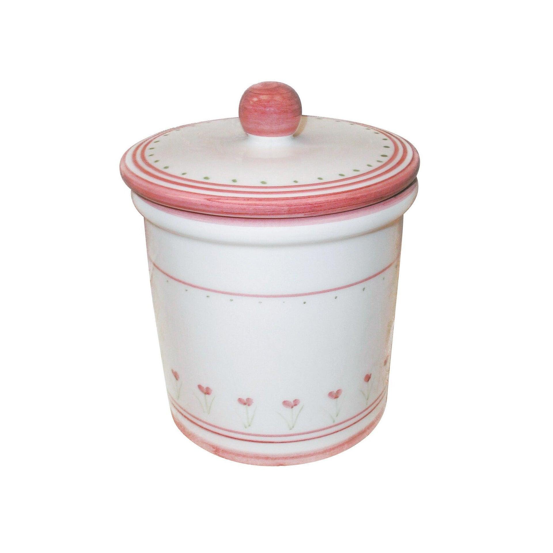 Porta cotone Decoro 198/r in ceramica rosa verde