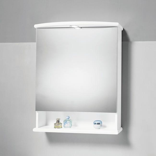 Specchio Contenitore Con Luce Katia L 62 X P 23 X H 77 Cm Bianco Lucido Laccato Leroy Merlin