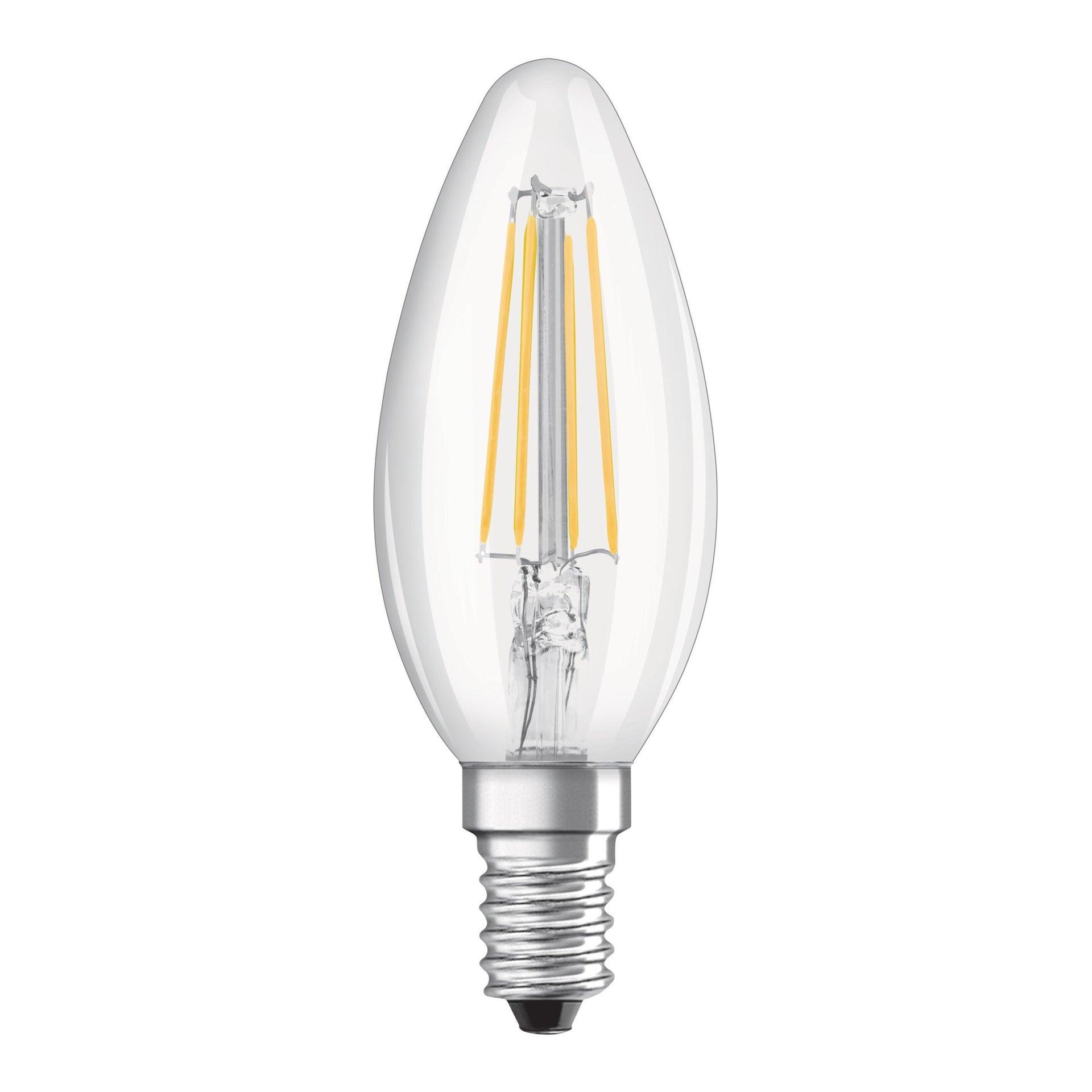 Lampadina LED filamento, E14, Oliva, Trasparente, Luce naturale, 4W=470LM (equiv 60 W), 300° , OSRAM - 1