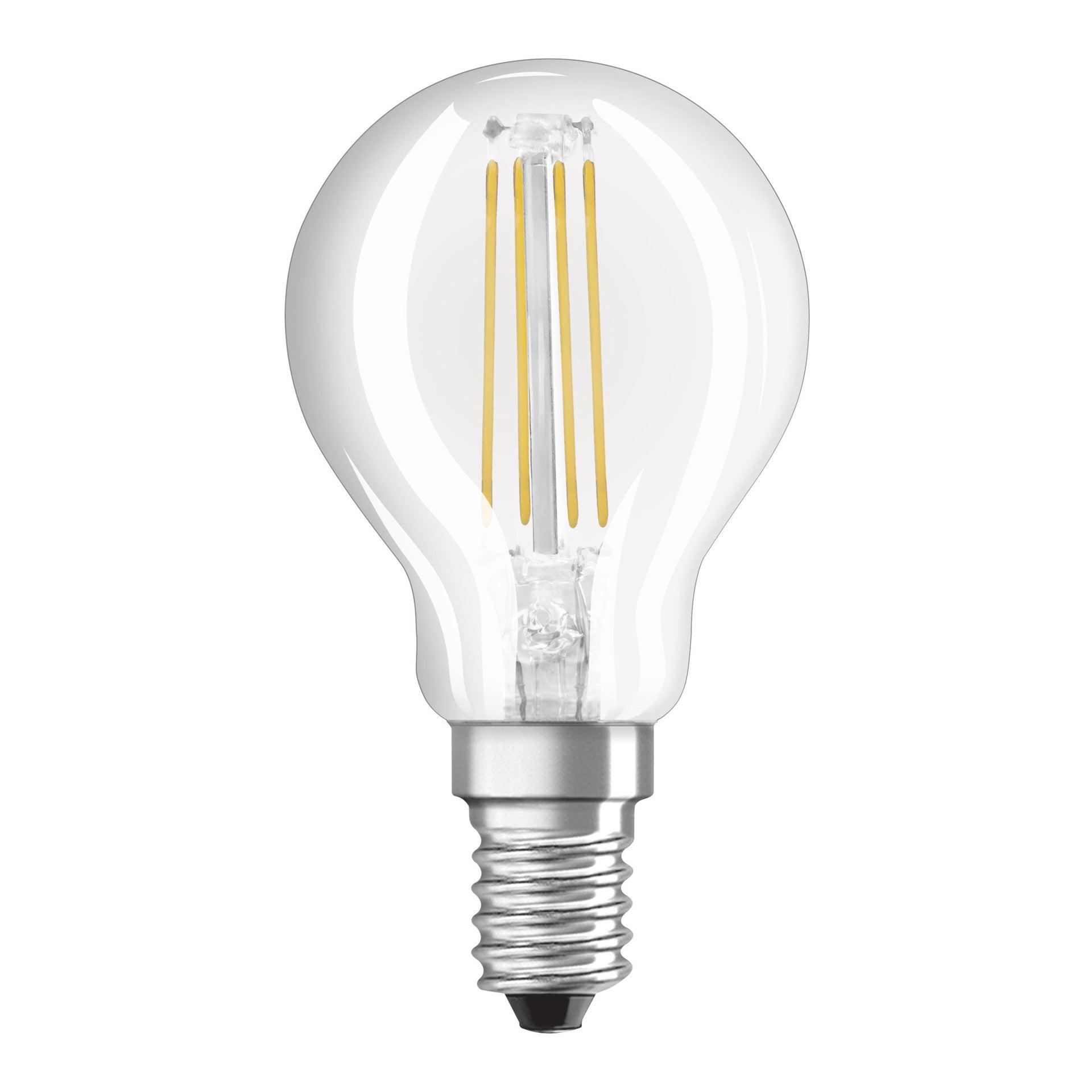 Lampadina LED filamento, E14, Sferico, Trasparente, Luce naturale, 4W=470LM (equiv 40 W), 300° , OSRAM - 1