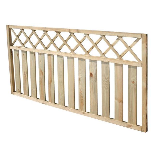Recinzione griglia con decoro in legno L 180 x H 90 x P 4.5 cm - 1