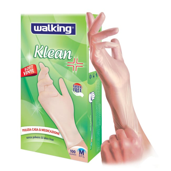 Guanti in vinile WALKING Klean 8 / M , 100 pezzi - 1