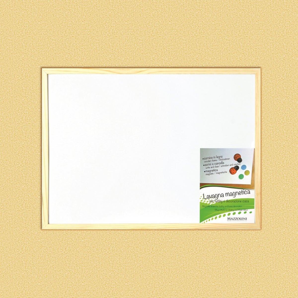 Lavagna magnetica cancellabile Cornice legno naturale 90x60 cm - 2