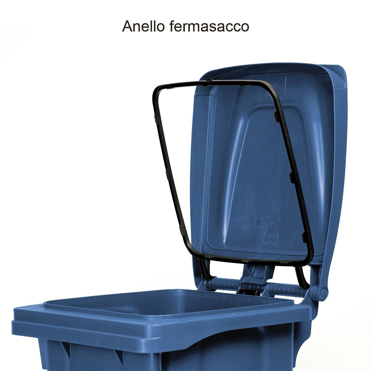 Bidone in plastica STEFANPLAST carrellato 120 L, 2 ruote - 4