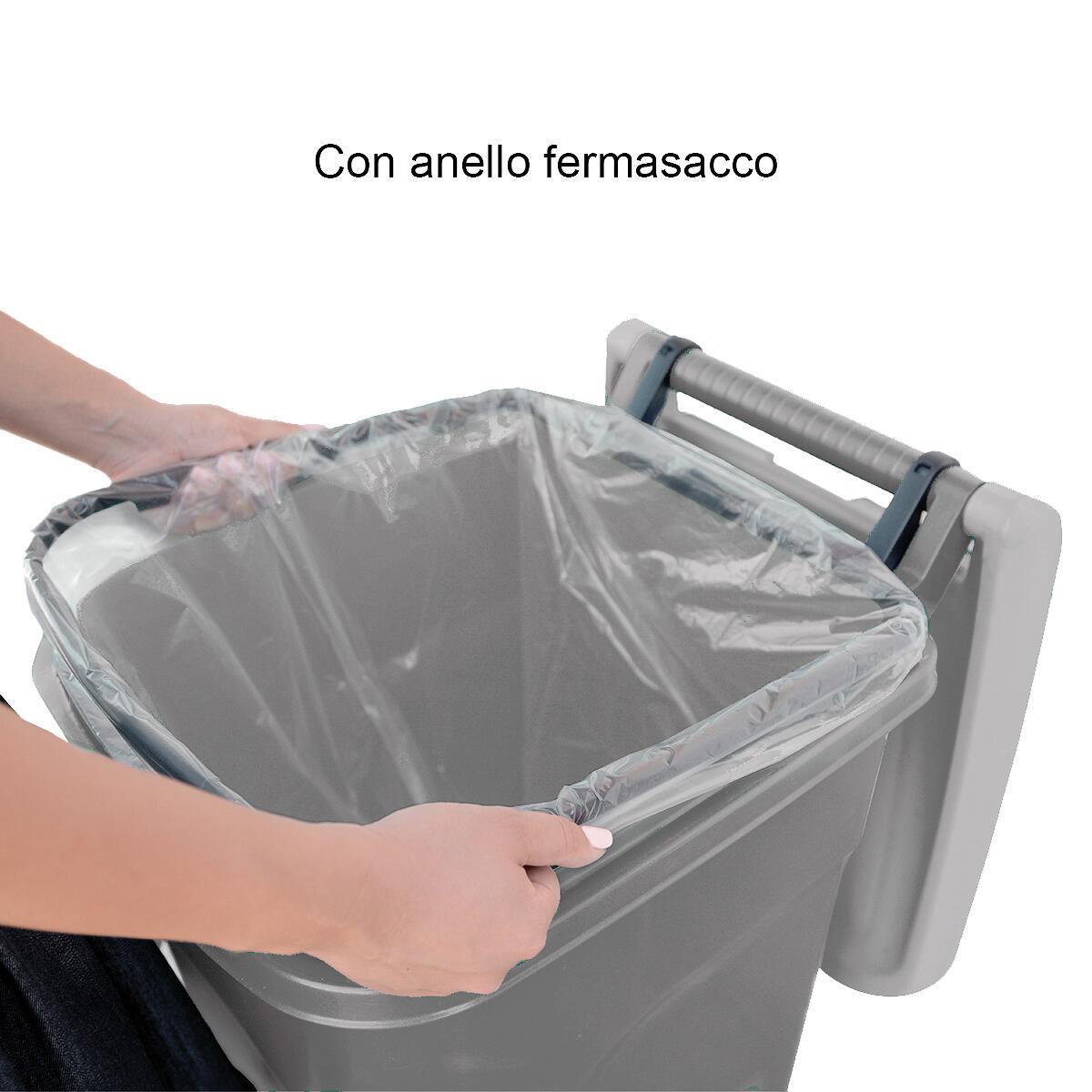 Bidone in plastica STEFANPLAST carrellato Urban Eco System 80 L, 2 ruote - 4