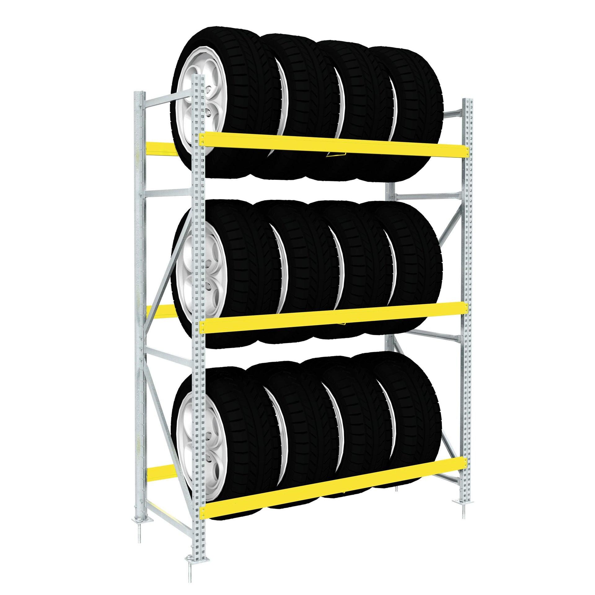 Scaffale in metallo in kit portagomme L 100 x P 50 x H 195 cm giallo