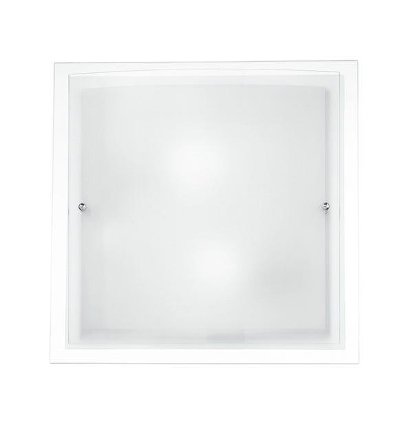 Plafoniera classico Doppio trasparente, in vetro, 40x40 cm, 2 luci FAN EUROPE - 1