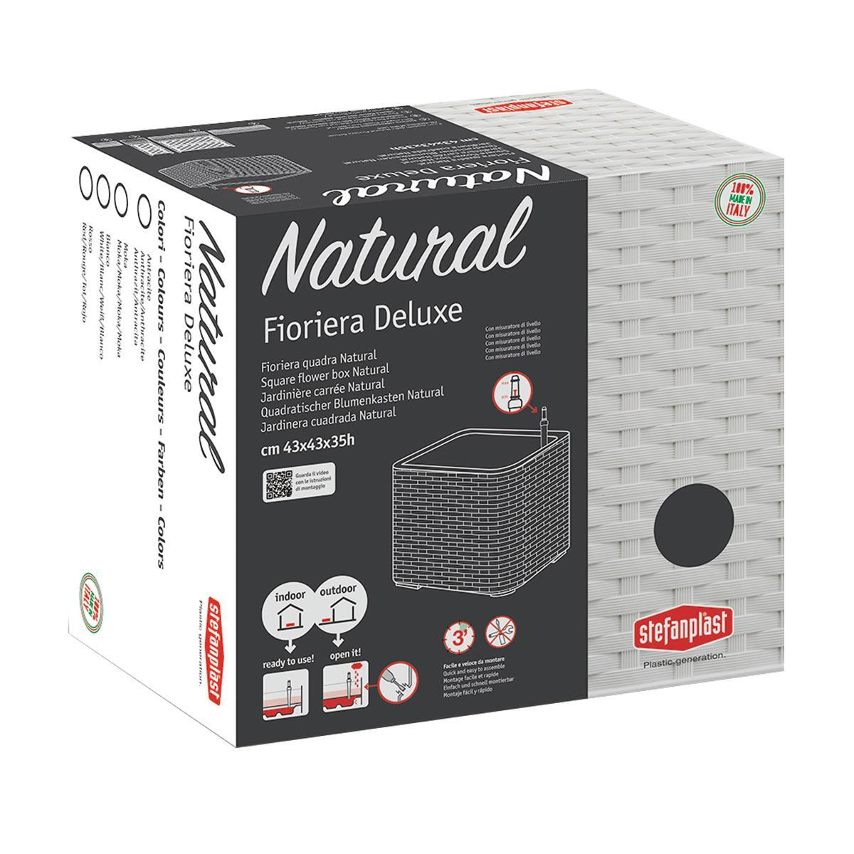 Cassetta portafiori Natural Deluxe STEFANPLAST in plastica moka H 33 , L 43 X P 43 cm - 4