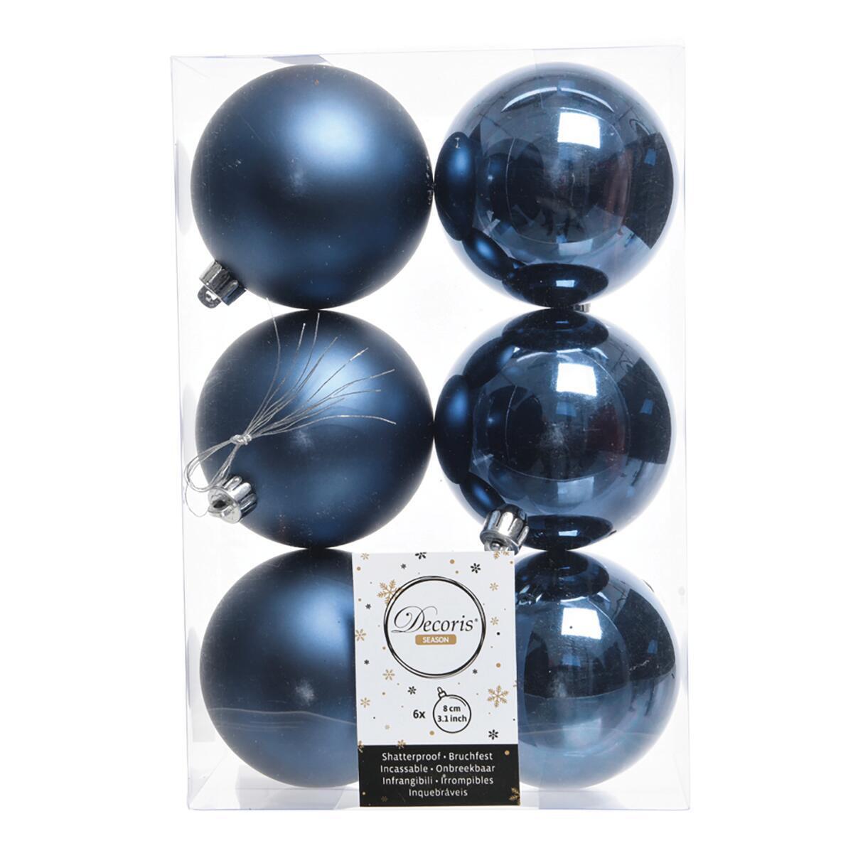 Sfera natalizia in plastica Ø 8 cm confezione da 6 pezzi - 2