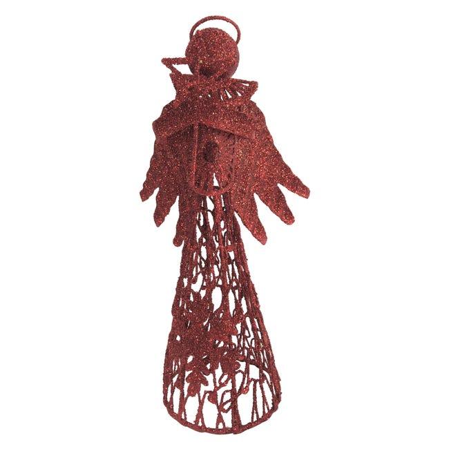 Puntale per albero di natale Angelo rossoin metallo H 30 cm - 1