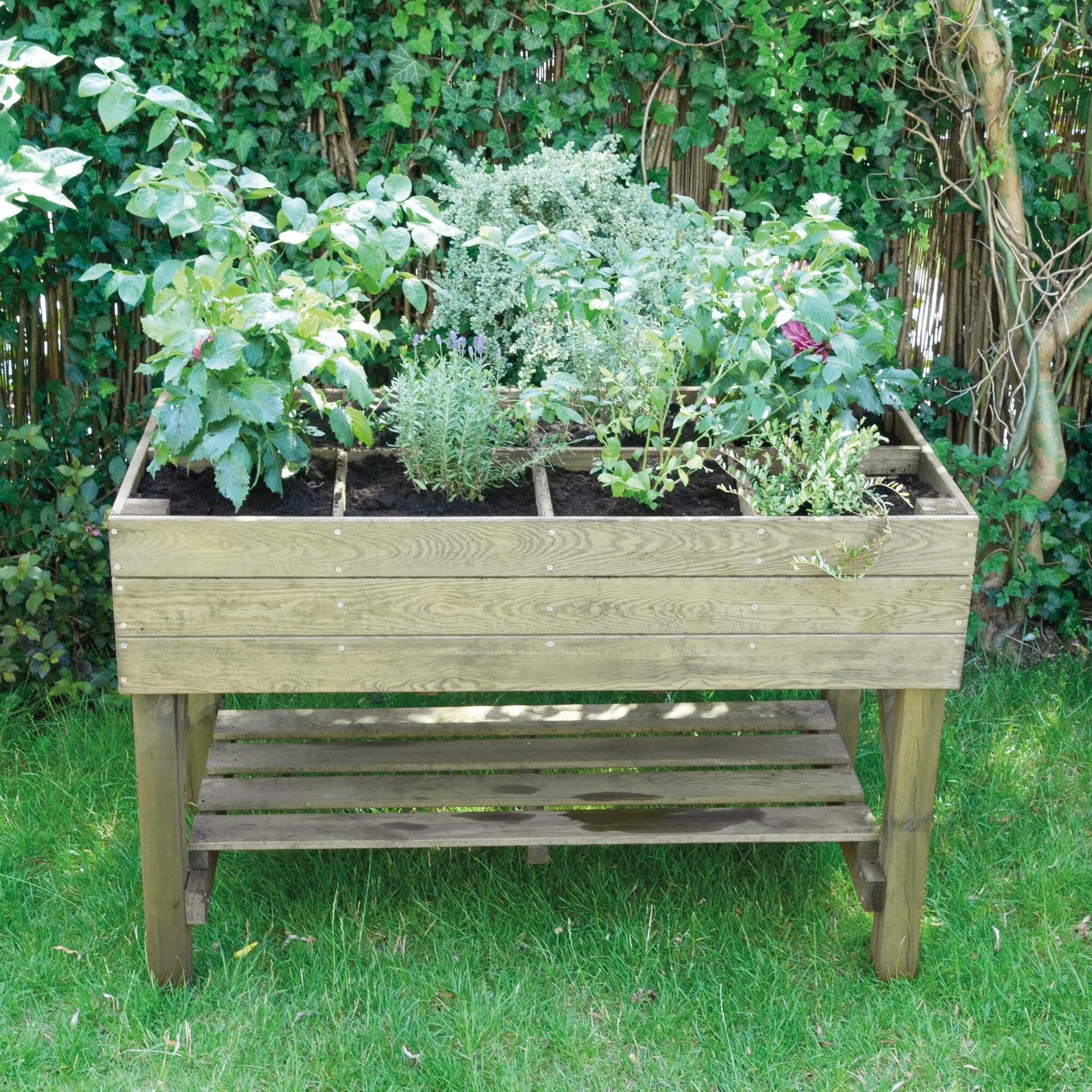 Fioriera per orto in legno verde L 120 x P 60 x H 80 cm - 2