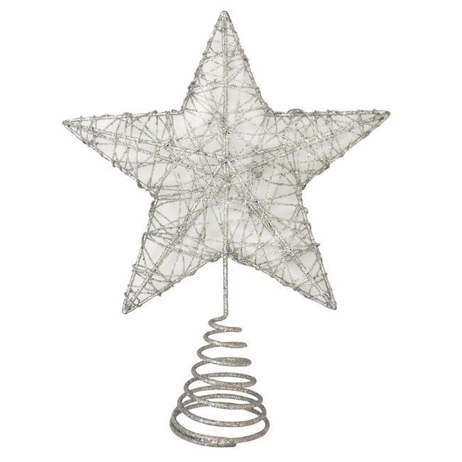 Puntale per albero di natale Stella grigio / argentoin metallo H 25 cm - 1