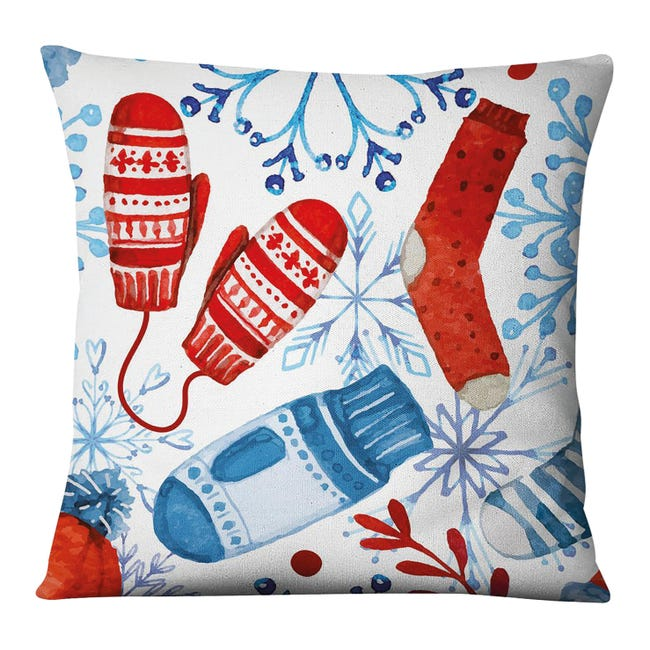 Fodera per cuscino Guanti bianco, azzurro, rosso 45x45 cm - 1
