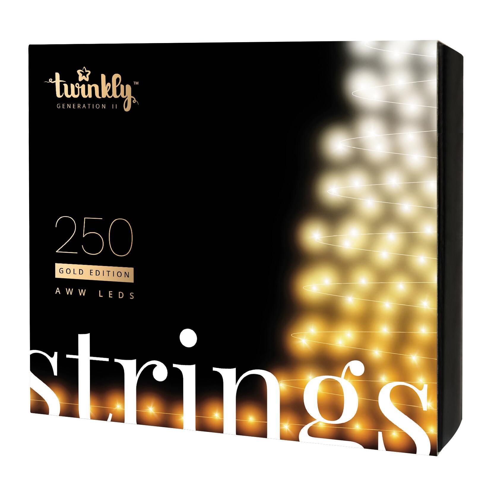 Catena luminosa 250 lampadine LED bianco caldo e bianco freddo e dorato e giallo TWINKLY 20 m - 4