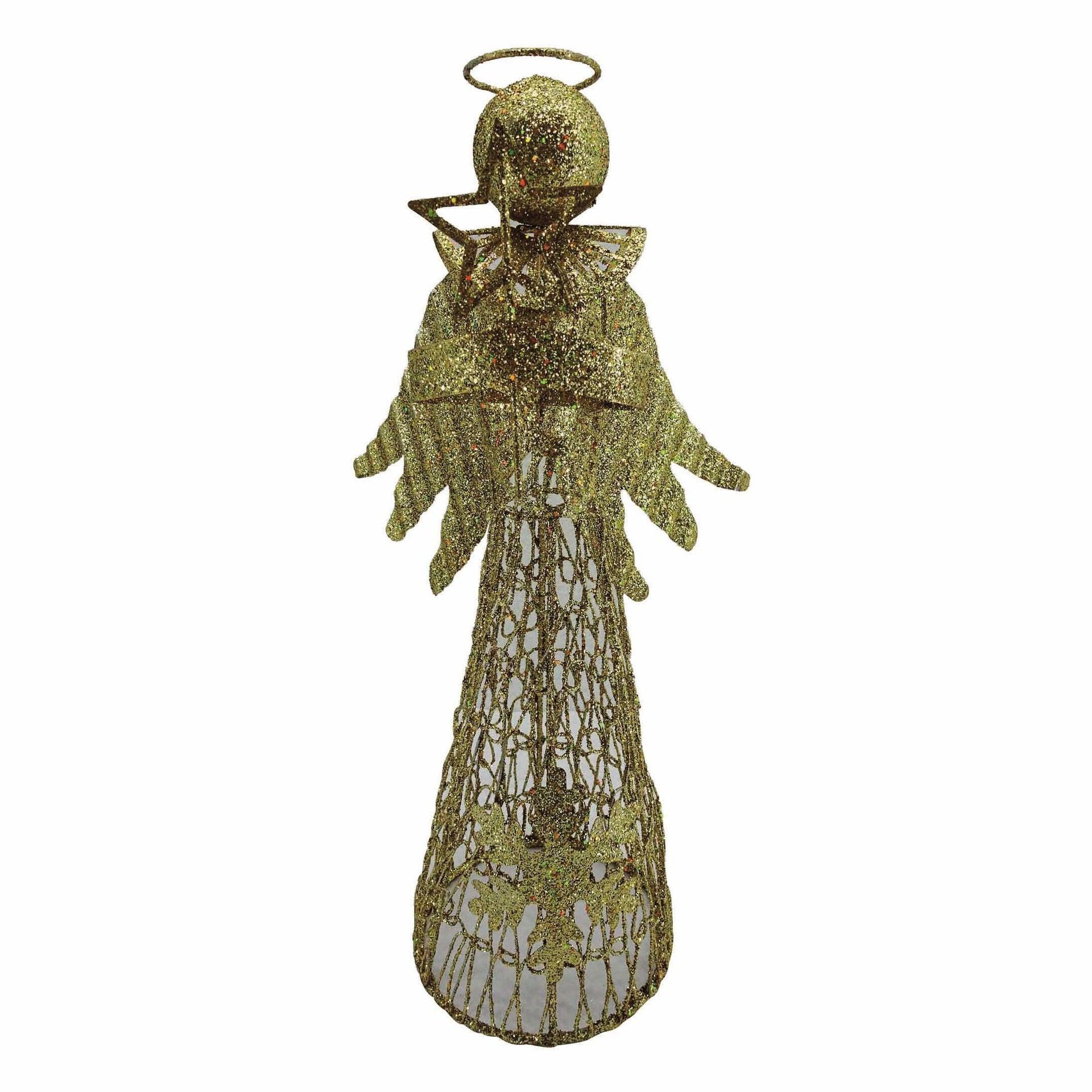 Puntale per albero di natale Angelo giallo / doratoin metallo H 30 cm