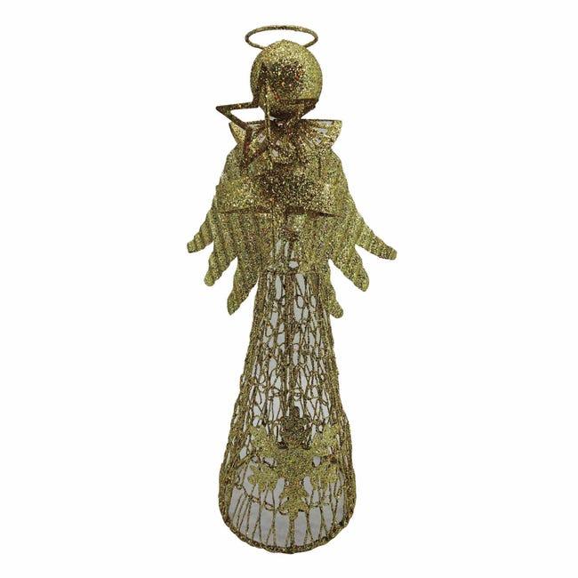 Puntale per albero di natale Angelo giallo / doratoin metallo H 30 cm - 1