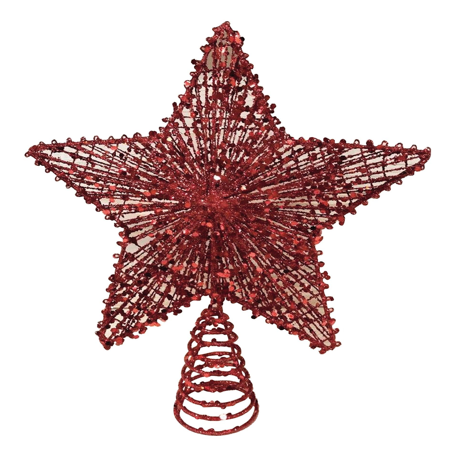 Puntale per albero di natale Stella rossoin metallo H 30 cm