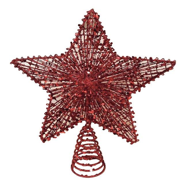 Puntale per albero di natale Stella rossoin metallo H 30 cm - 1