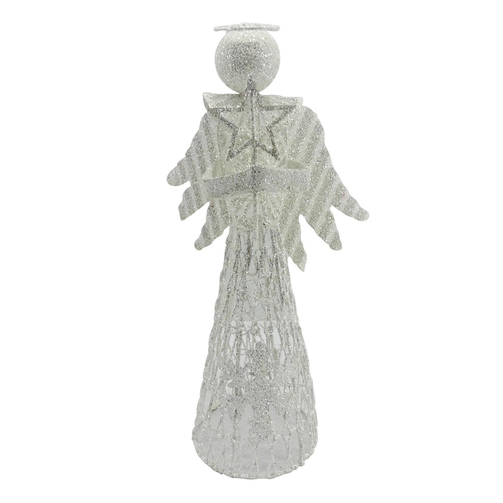 Puntale per albero di natale Angelo biancoin metallo H 30 cm