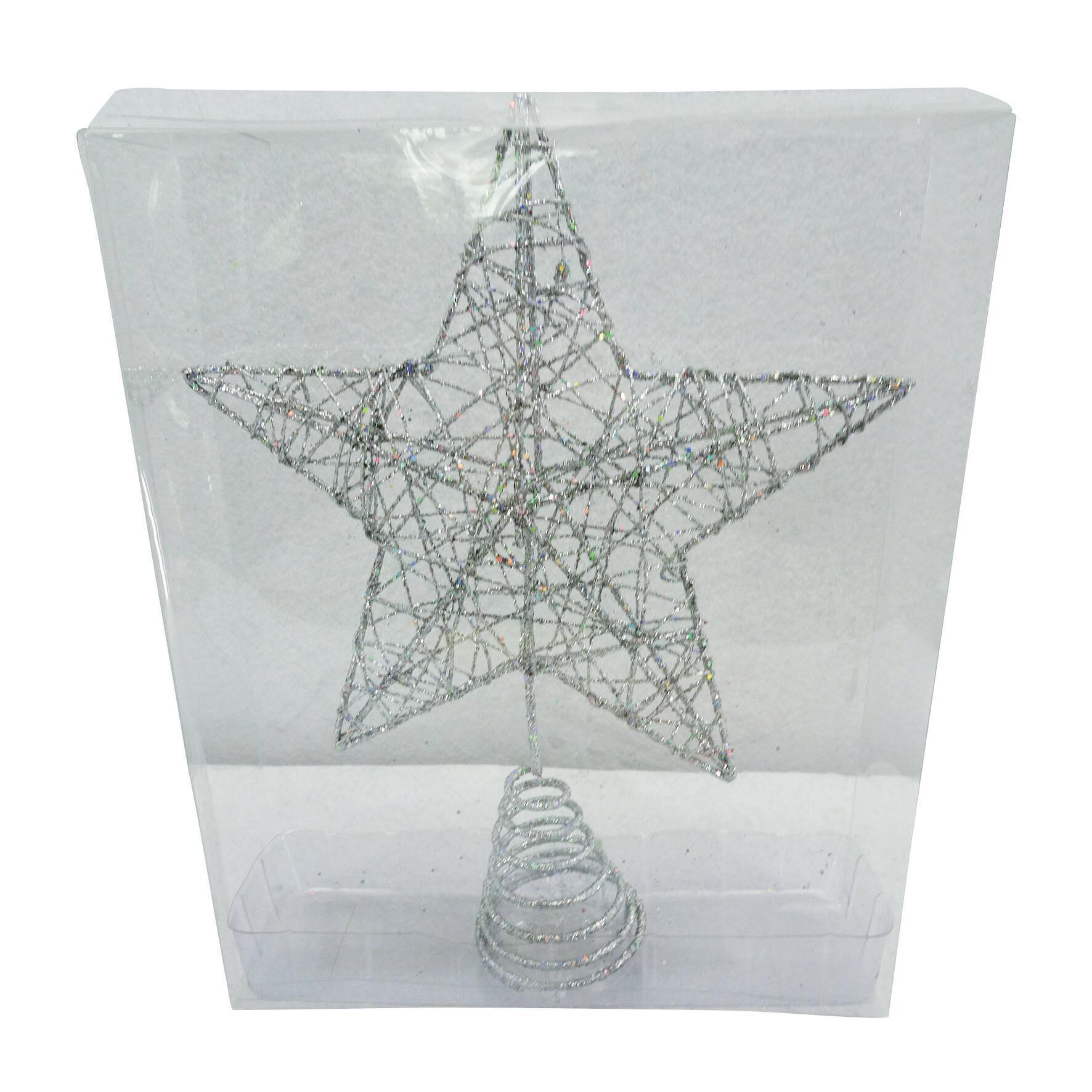 Puntale per albero di natale Stella grigio / argentoin metallo H 25 cm - 2