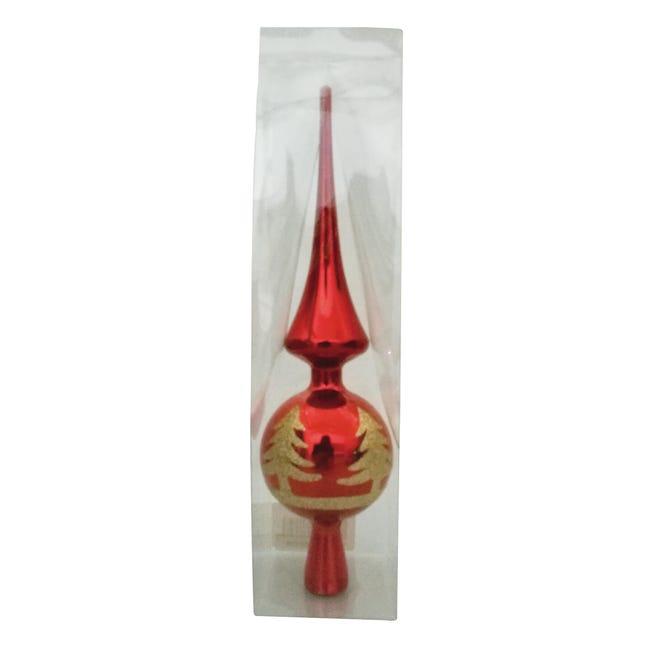 Puntale per albero di natale rosso in plastica H 29 cm - 1