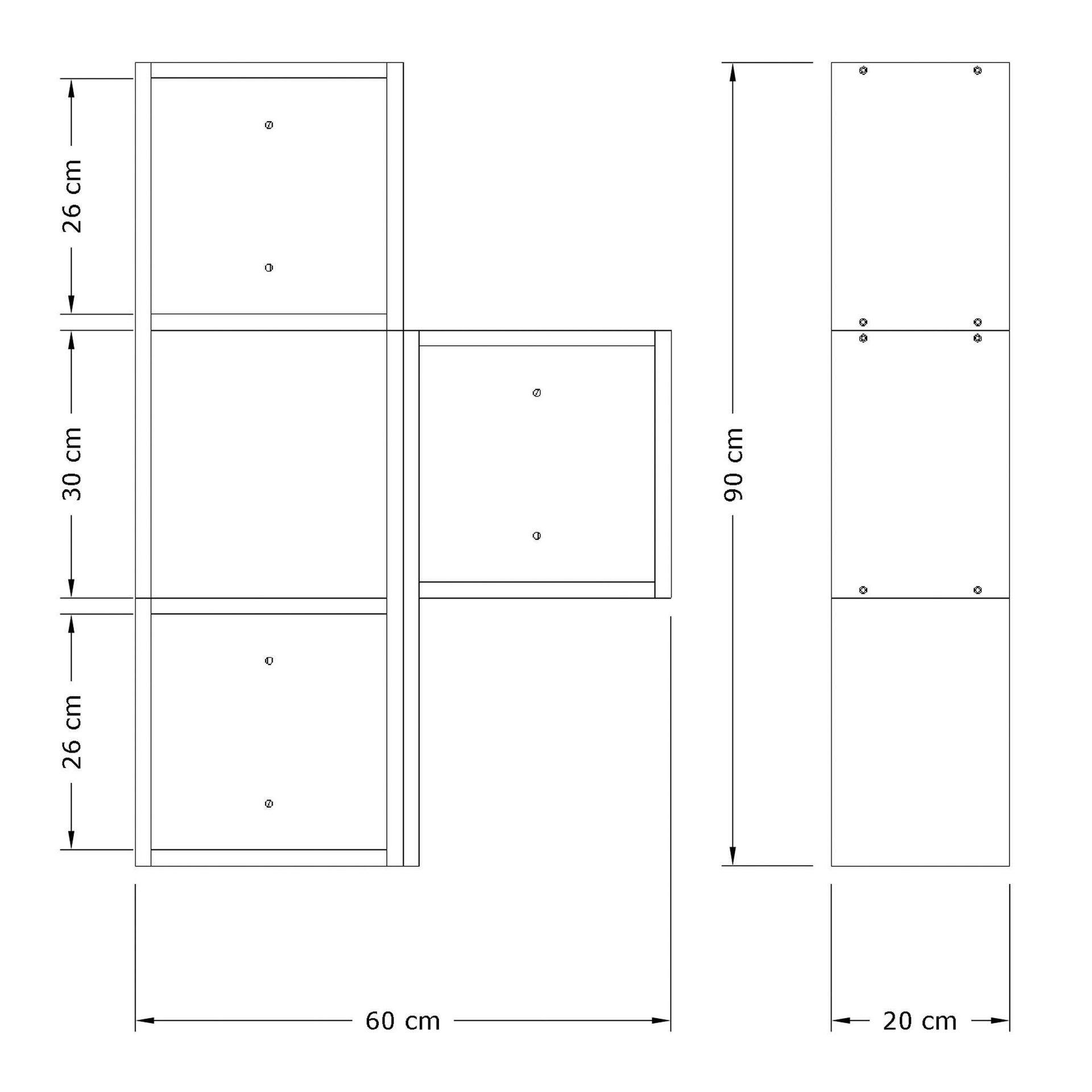 Mensola a cubo Bermuda L 60 x H 90 cm, Sp 25 mm bianco e rovere - 4