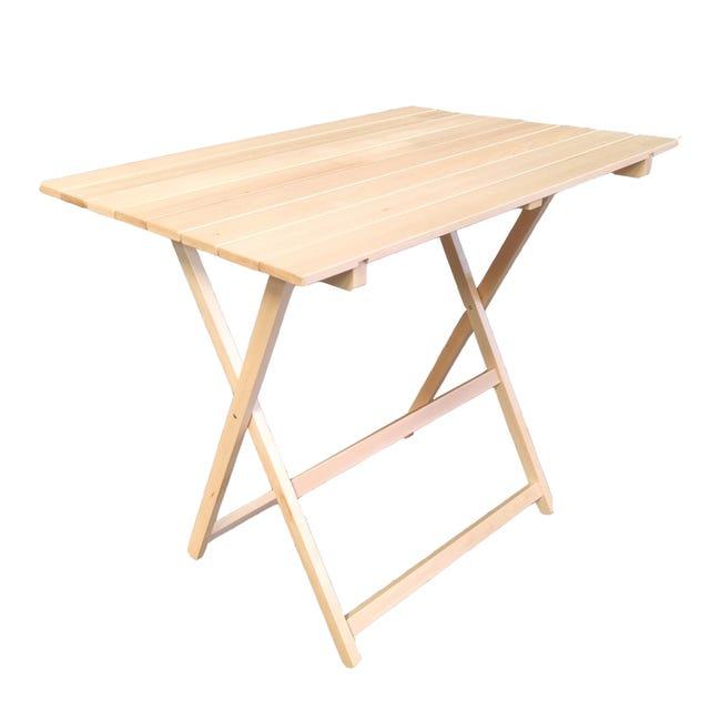 Tavolo da giardino rettangolare pieghevole con piano in legno L 60 x P 80 cm - 1