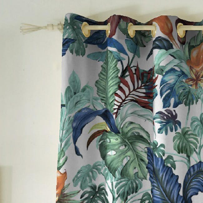 Tenda INSPIRE Malibù verde occhielli 140 x 270 cm - 1