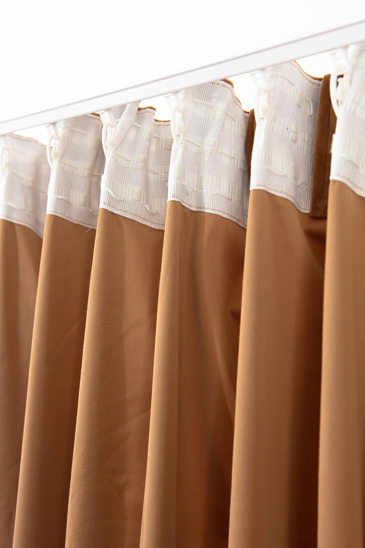 Tenda Misty marrone fettuccia con passanti nascosti 135 x 280 cm - 5
